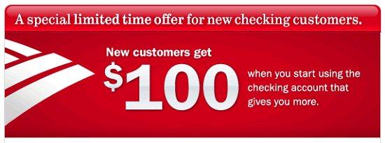Bank of America Checking Promotion: $100 Bonus