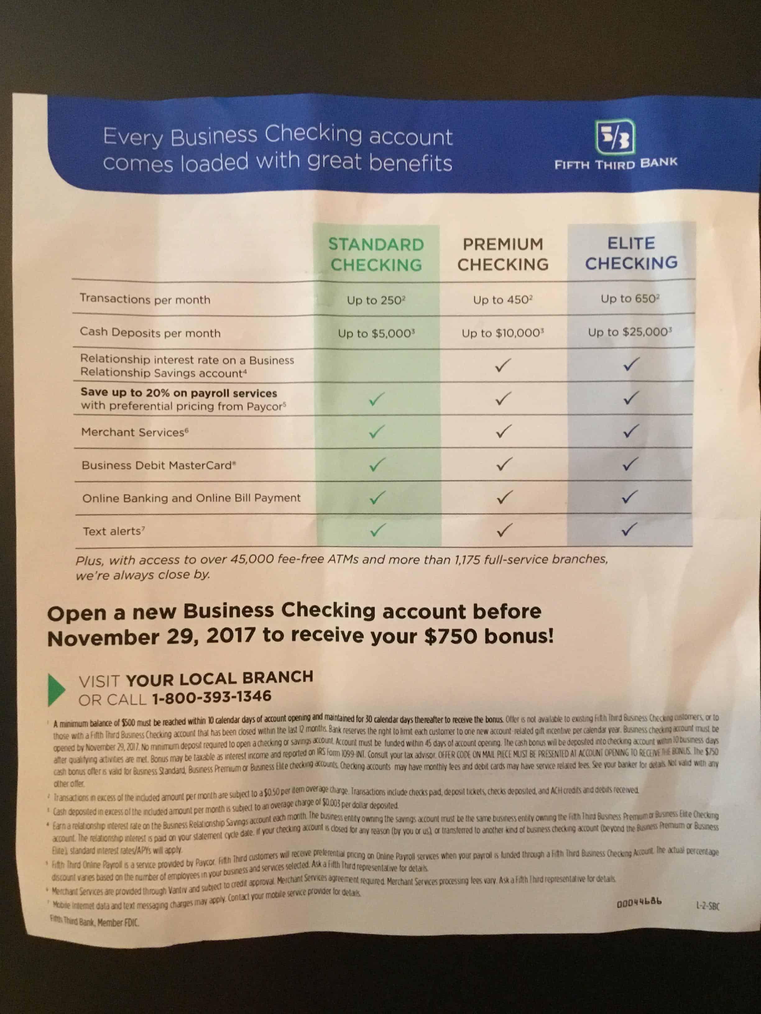 fifth third bank business checking account review $750 bonus
