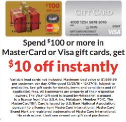 Hy-Vee Visa & MasterCard Gift Cards Offer: $10 Off $100