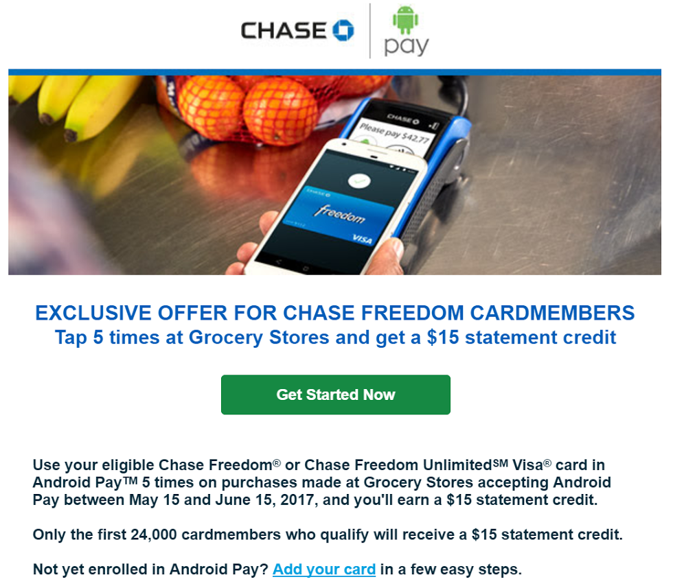 Chase Freedom Cards Android Pay Grocery Bonus: Use 5 Times