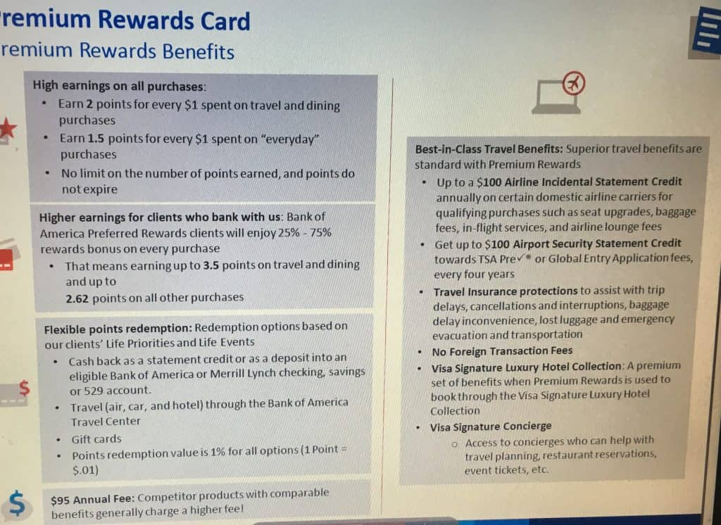 card and that coincides with bank of america having no transfer partners however they may have very well compensated for that with just integrating - Bank Of America Travel Rewards Card Benefits