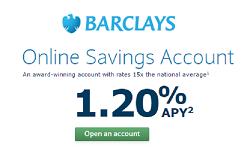 Barclays Online Saings Account 1.20% APY