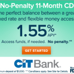 CIT Bank No Penalty Certificate of Deposits Analysis: Earn 1.55% APY CD Rate (Nationwide)