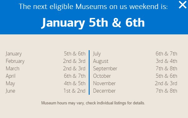 Bank of America Cardholders Free Museum Entry