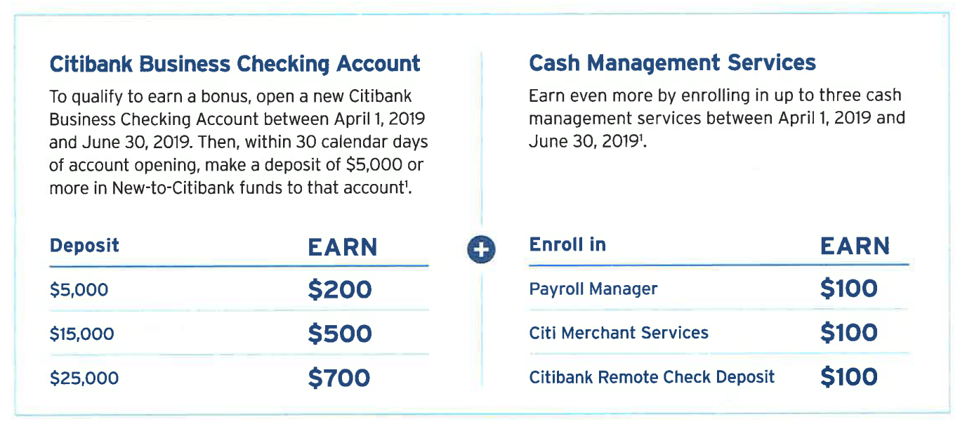 Citibank Business Checking Bonus: $700 Promotion (CA, CT