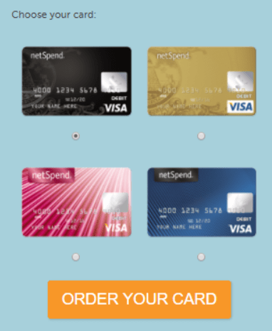 Netspend Card Selections on Netspend Debit Card Balance