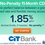 CIT Bank No Penalty Certificate of Deposits Analysis: Earn 1.85% APY CD Rate (Nationwide)