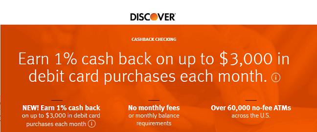 Discover Checking 1% Cashback logo