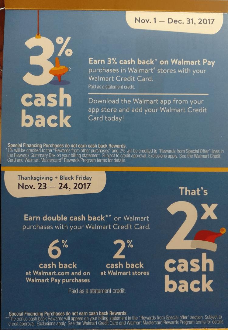 Walmart Credit Card Cash Back Bonus Offer Earn Up To 6 Cash Back For Thanksgiving Black Friday