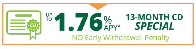 Arbor FCU 13-Month CD Special 1.76% APY