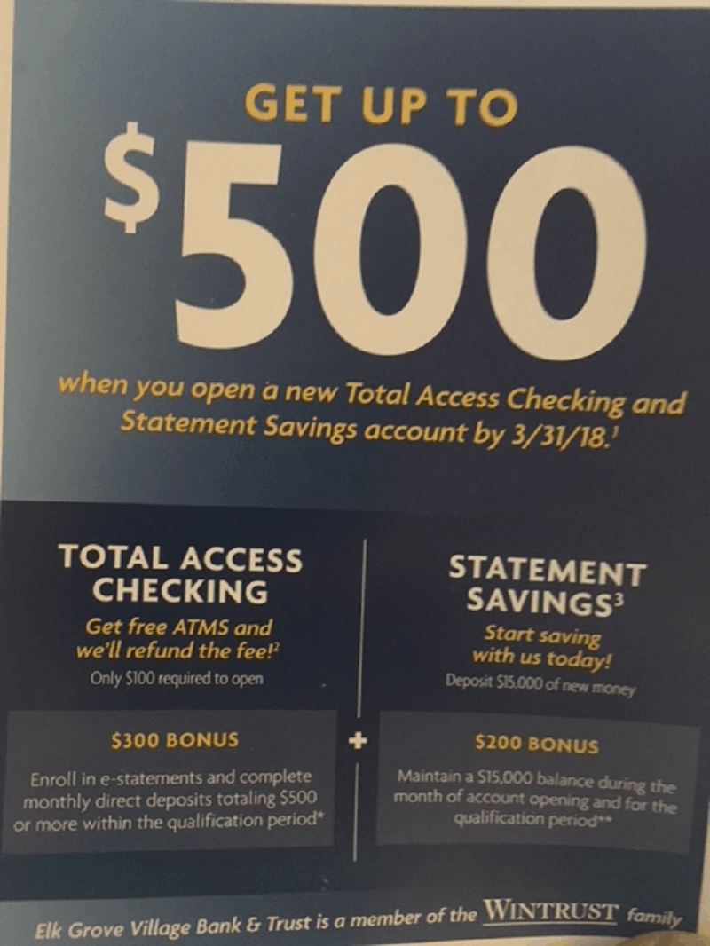 Elk Grove Village Bank & Trust Checking & Savings Bonus: $500