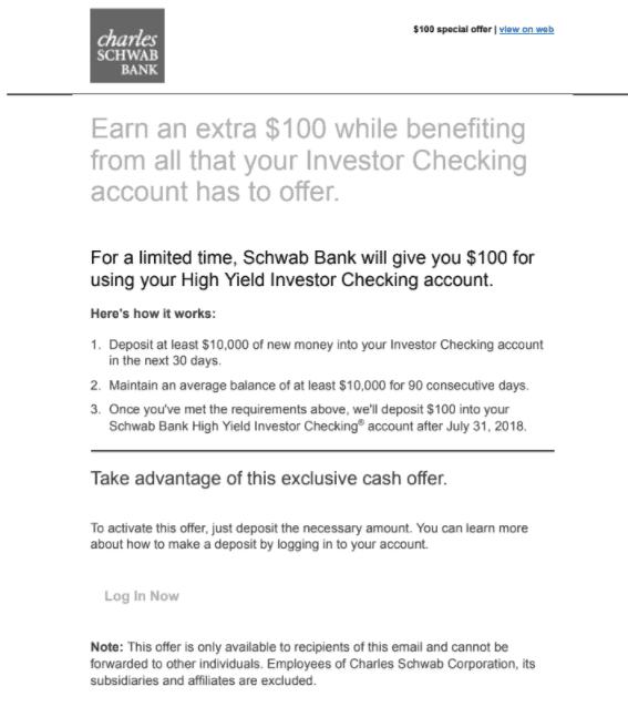 Charles Schwab High Yield Investor Promotion: $100 Bonus for
