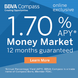 BBVA Compass Money Market 1.25 APY 12 months