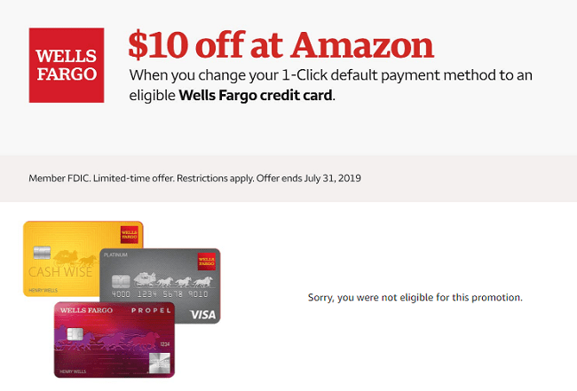 Amazon 1-Click Default Payment Promotion: Get $10 Amazon