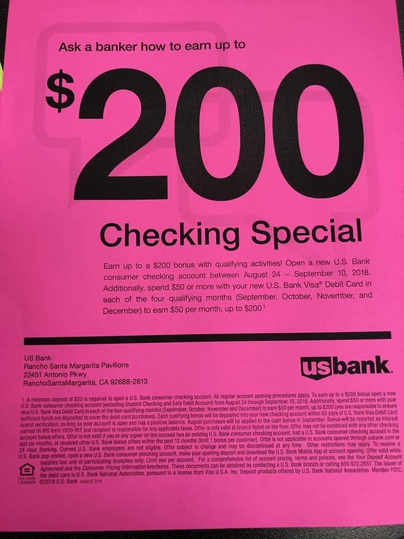 Us bank checking bonus 200 promotion ar az ca co fl ga ia open a consumer checking account with us bank altavistaventures Images