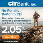 CIT Bank No-Penalty CD Promotion: Earn 2.05% APY Certificate of Deposit Rate (Nationwide)