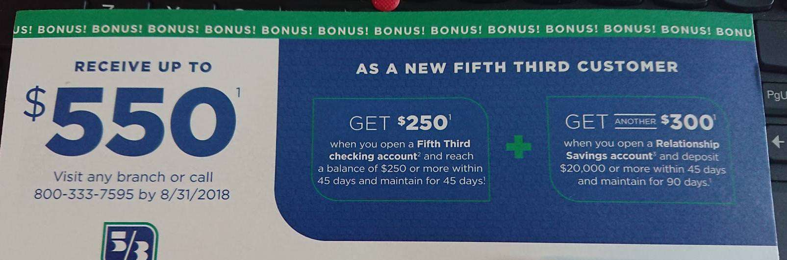 Fifth Third Bank Checking & Savings Bonus: Earn up to $500/$550