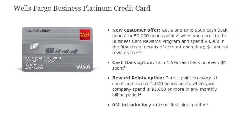 Wells Fargo Business Platinum Credit Card Review: $500 Cash