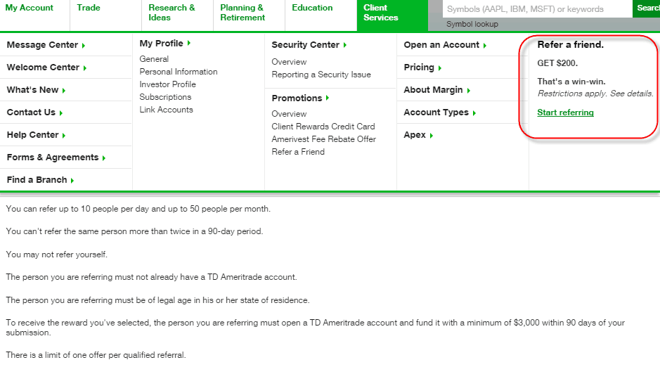 TD Ameritrade Referral Referee