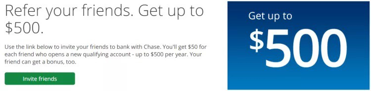 Chase Bank $500 referral bonus promotion